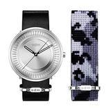 o.d.m. Mens Minimalist Design Wrist Watch Two Band Leather Nylon Strap Analog Quartz Watch DD170-01