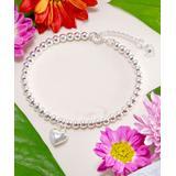 Kwanli Women's Bracelets Metallic - Sterling Silver Heart Beaded Charm Bracelet