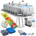 Intex Prism Frame Oval Swimming Pool 610x305x122 cm Schwimmbecken 26798 Komplett-Set mit Leiter & Pumpe sowie Extra-Zubehör wie: Strandball und Luftmatratze