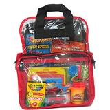 Apex Travel Kids Pack - Activity Travel Bag for Boys - Clear Backpack - TSA Approved - Keeps your Toddler Busy and Quiet on the Airplane or in the Car (Boys Red)