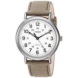 Timex Men's TWF3C8440 Weekender 40 Olive/Titanium Two-Piece Leather/Fabric Strap Watch