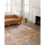 """Loloi Loren Collection Vintage Printed Persian Area Rug 1'-6"""" x 1'-6"""" Square Swatch Terracotta/Sky"""