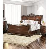 Furniture of America Luxury Brown Cherry Baroque-Style Sleigh Bed King