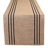 "Ramanta Home Burlap Table Runner in Printed Stripe Design 14x90 Natural/Black,Burlap Table Runner,Burlap Wedding Decotrations Runners,Baby Shower Table Runners,72"" Long Burlap Table Runner, Set of 2"