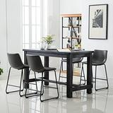 Roundhill Furniture Bronco Antique Wood Finished Counter Height Dining Set: Table and Four Chairs, Grey, Gray