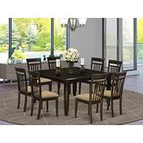 East West Furniture 9 PC Dining Room Set Table with Leaf and 8 Dinette Chairs, Cappuccino