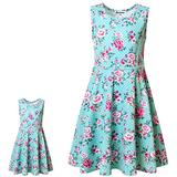 Matching Girl & Doll Dresses Floral Summer Clothes for Big Girls Kids Green