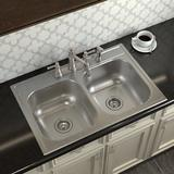 "Moen 2000 Series 33"" L x 22"" W Double Basin Drop-In Kitchen Sink Stainless Steel in Gray, Size 8.0 H x 33.0 W x 12.5 D in   Wayfair GS202134Q"