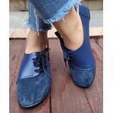 D.taLo Women's Loafers BLUE - Blue Contrast-Toe Lace-Up Shoe - Women