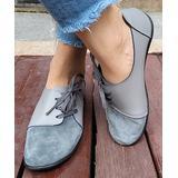 D.taLo Women's Loafers GREY - Gray Contrast-Toe Leather Lace-Up Shoe - Women