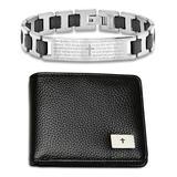 HMY Jewelry Men's Wallets multi - Stainless Steel Prayer ID Link Bracelet & Leather Wallet Set