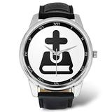 Bible Watches for Men - Christian Religious Christmas Gift - Men's Leather Strap Large Dial Watch