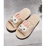 DUDU TOWN Women's Slippers Beige - Pink & Beige Bunny Flax Slipper - Women