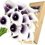FiveSeasonStuff Real Touch Calla Lily Artificial Flowers Wedding Bridal Bouquet   Floral Arrangements   15 Calla Lilies (Silk White & Abyss Purple)