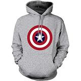 Captain America Hoodie Marvel Comics Official Classic Movie Pullover Sweatshirt Sports Gray