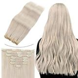 Real Hair Extensions Clip in Human Hair, JoYoung Human Hair Clip in Extensions 14inch Extensions Human Hair Natural Clip in Hair Real Blonde Hair Extensions Clip in Remy Hair 7PCS 100G
