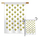 Breeze Decor Royal French Interests Fleur De Lys Impressions 2-Sided Polyester 2 Piece Flag Set in Brown, Size 28.0 H x 18.5 W in | Wayfair