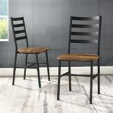 Slat Back Metal & Wood Dining Chair in Reclaimed Barnwood (Set of 2) - Walker Edison CH18SBMW2RO