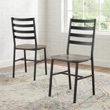 Slat Back Metal & Wood Dining Chair in Grey Wash (Set of 2) - Walker Edison CH18SBMW2GW
