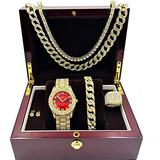 Fully Iced Mens Big Rocks Bezel Color Dial with Roman Numerals, Cuban Chain Bracelet, Cuban Necklace, Tennis Chain & Ring - ST10327CRNT (12, Gold - Bloody Red)