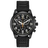 Citizen Eco-Drive Military Quartz Mens Watch, Stainless Steel with Nylon strap, Field watch, Black (Model: AT0205-01E)