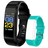 ELEDUCTMON Smartwatch Fitness Tracker with Heart Rate Monitor Full Touch Screen Step Calorie Counter,IP67 Waterproof Step Counter, Calorie Counter, Pedometer for Kids Women Men (Black)
