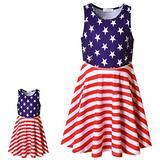 Perfashion USA Flag Dress Matching Girls&Dolls Patriotic Summer Kids Wedding Sleeveless