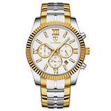 Watch, Gold Watch for Men, Waterproof Stainless Steel Chronograph Dress Classic Luminous Quartz Analog Wrist Watch