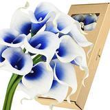 FiveSeasonStuff Real Touch Calla Lily Artificial Flowers Wedding Bridal Bouquet   Floral Arrangements   15 Calla Lilies (Silk White & Abyss Blue)