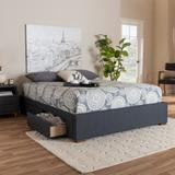 Baxton Studio Leni Modern Dark Grey Fabric 4-Drawer Queen Size Platform Storage Bed Frame - CF9045-Dark Grey-Queen
