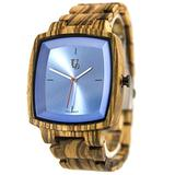 Men's Classic Zebra Square Wood Watch with Blue Face/Swiss Movt, Groomsmen Gifts, Best Swiss Wooden Watches