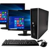 HP Elite Business Desktop Computer Tower PC (Intel Ci5-2400, 8GB Ram, 1TB HDD, Wireless WiFi, DVD-ROM, Keyboard Mouse) 24inch Dual LCD Monitor Brands Vary, Windows 10 (Renewed)