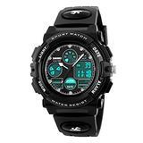 FEIWEI Digital Sports Watches for Women Chila Boy LED Digital Analog Dual Time 50M Waterproof Outdoor Military Multifunction Quartz Watches - Black