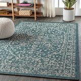 Bungalow Rose Massimo Medallion Textured Weave Teal Indoor/Outdoor Area Rug Polypropylene in Blue/Brown/Green, Size 91.0 H x 63.0 W x 0.19 D in