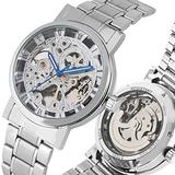 Luxury Automatic-self-Winding Mechanical Watches for Men, White Rome Digital Dial Stainless Steel Skeleton Mechanical Watch for Male, Practical Luminous Function Mechanical Wristwatch for Friends