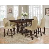 Charlton Home® Heady 7 - Piece Counter Height Dining SetWood/Upholstered Chairs in Brown, Size 36.0 H x 42.0 W x 66.0 D in | Wayfair