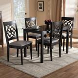Charlton Home® Heinrich 5 - Piece Solid Oak Dining SetWood/Upholstered Chairs in Brown, Size 29.13 H x 27.56 W x 43.31 D in | Wayfair