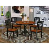 August Grove® Korhonen 5 - Piece Solid Wood Dining Set Wood in Black/Brown, Size 29.5 H in | Wayfair 3B98F75DED4842B2B358D8DB9F6E524B