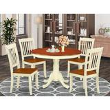 August Grove® Korhonen 5 - Piece Solid Wood Dining Set Wood in Red/Brown, Size 29.5 H in | Wayfair 21529CC1AA064E0A8C580772389F8FEA