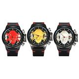 Men's Military Watch 3 Pairs Skull Head Dial Quartz Analog Black Leather Punk Rock Hip hop Style Watches