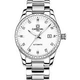 Carnival Women's Diamond Automatic Sapphire Pearl White Dial Silver Stainless Steel Waterproof Lady's Elegant Mechanical Watch (White dial) (Silver with White dial)