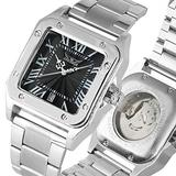 Extravagant Automatic-self-Winding Mechanical Watch for Men, Unique Square Case Stainless Steel Skeleton Mechanical Watches for Male, Classic Rome Digital Dial Mechanical Wristwatch for Boys