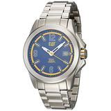 CAT Twist Up Silver Men Watch, 42.5 mm case, Blue face, Date Display, Stainless Steel case, Stainless Steel Strap, Blue/Yellow dial (YU.141.11.637) (Silver/Blue)
