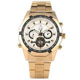 Exquisite Automati Mechanical Watch Luxury Golden Stainless Steel Skeleton Mechanical Watches Vintage White Tourbillon Dial Wristwatch for Men