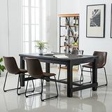 Roundhill Furniture Bronco Antique Wood Finished Dining Set: Table and Four Chairs, Brown,