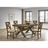 Roundhill Furniture Raven Wood Dining Set: Butterfly Leaf Table, Four Chairs, Brown