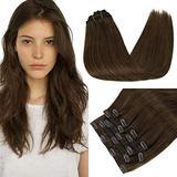 RUNATURE Hair Extensions Clip in Human Hair Chocolate Brown Hair Extensions 100g 9pcs Remy Human Hair Extensions Clip in Real Hair Extensions Natural Hair Extensions Straight Clip in Hair Extensions