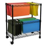 Zipperl Mobile File Cart Wire Metal Rolling Letter Legal 2-Tier File Carts Compact Swivel File Storage Organizer Shelf - Black