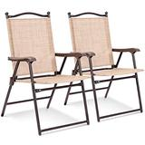 Giantex Set of 2 Patio Folding Chairs, Sling Chairs, Indoor Outdoor Lawn Chairs, Camping Garden Pool Beach Yard Lounge Chairs w/Armrest, Patio Dining Chairs, Metal Frame No Assembly, Yellow