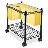 Zipperl Mobile File Cart Wire Metal Rolling Letter Legal 1-Tier File Carts Compact Swivel File Storage Organizer Shelf - Black
